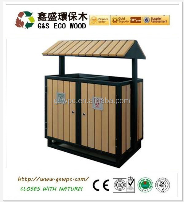 2016 High Quanlity Cheap Outdoor Environment wood plastic composite WPC Dustbin / Trash Can