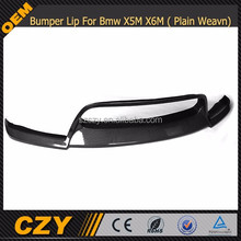 V Type Carbon Fiber Front Bumper Lip Spoiler For Bmw X5M X6M 2010+ ( Plain Weavn Carbon)