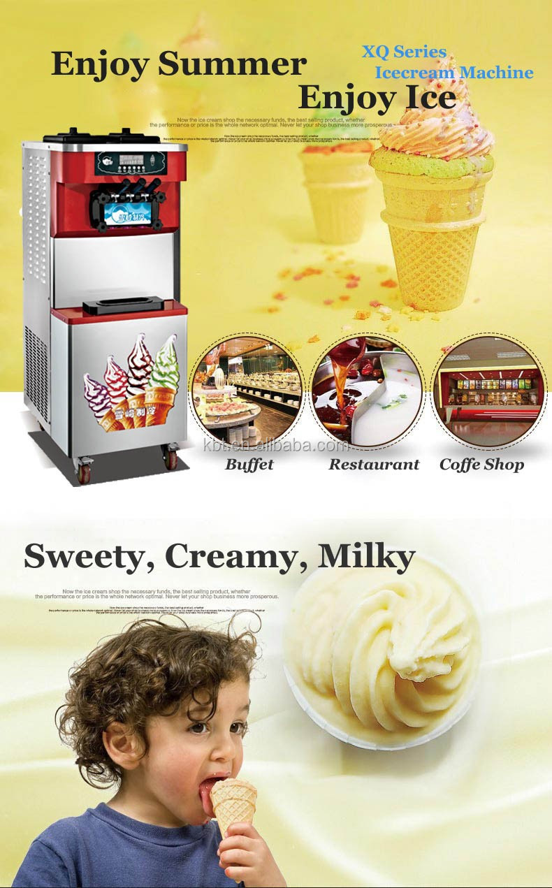 Custom Italian Soft Ice Cream making Machine For Snack Restaurant Coffe Shop Snack Ice cream Machine