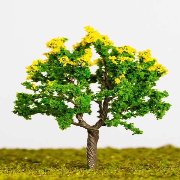 Handcrafted N HO flower trees with green and yellow mixed leaves