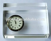 2015 office stationery crystal desk clock Crystal Name Card Holder With Clock For Business Gifts