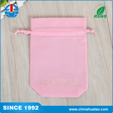 Fugang Pink Color Cute Printed Logo Cheapest Shopping Non Woven Drawstring Bag