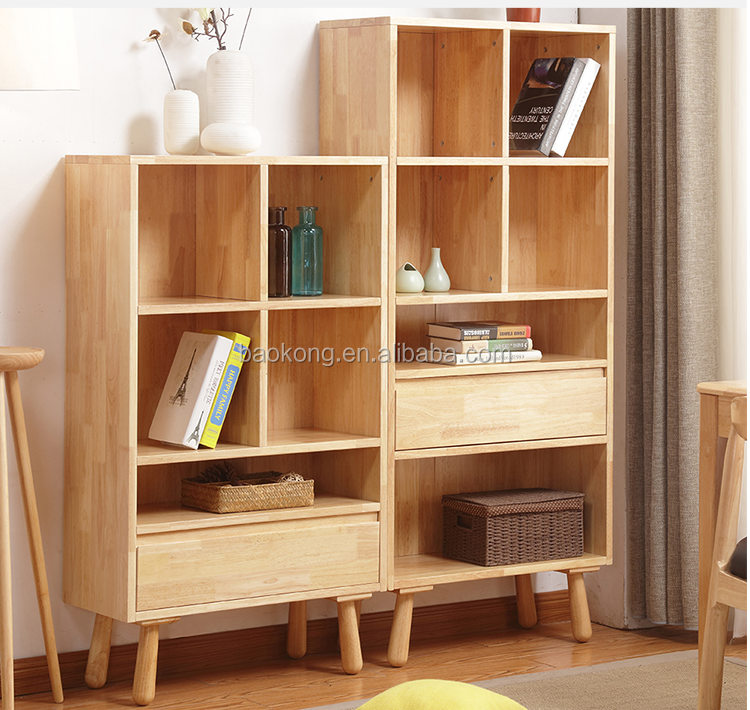 Solid Wood Book Shelf With Drawers Kids Bookrack Design
