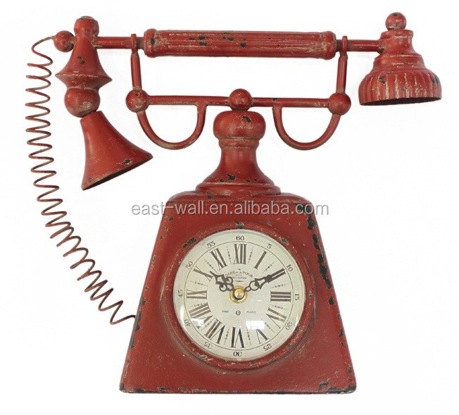 vintage red telephone shape iron table clock roman numerals