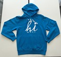 blue mens pullover hoody with customied printings and fleece fabric