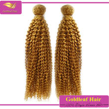 Full cuticles top quality 100% natural blonde curly human hair extensions