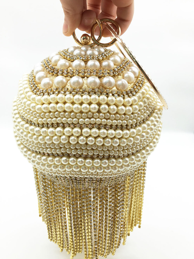 2016 Hot beaded Ball shape clutch bags Wedding Bridal evening bags clutches