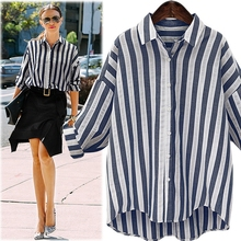 summer fashion stripe long tail shirt lady blouse & top
