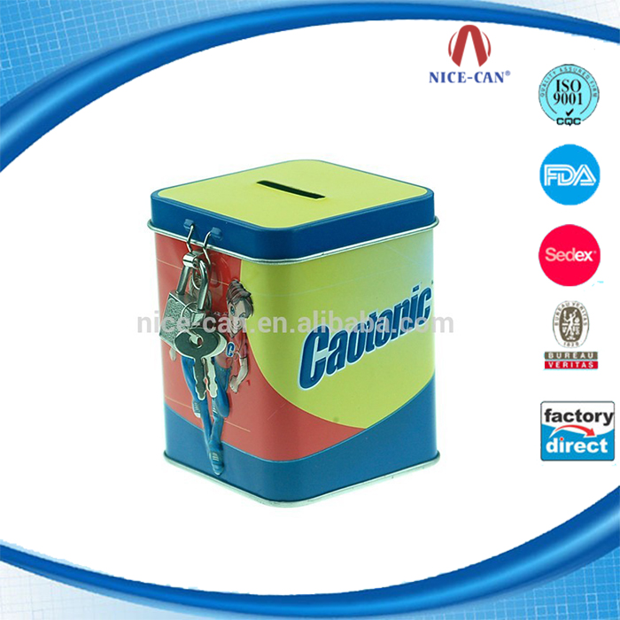 Guangzhou Tin Coin Bank Square Copper Metal Tins