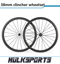 38mm clincher light wheelset Black Powerway R13 Hub 700c Road Bicycle Carbon Wheel 38mm Clincher 23mm Width Racing Cycle Wheels