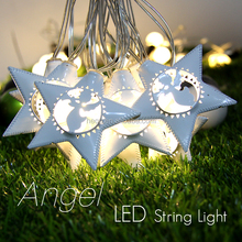 LED Metal Star Angel Shape String Lights Battery Powered Indoor Fairy/ Christmas/Party/Wedding Decoration