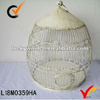 French country antqiue cream metal round birdcage