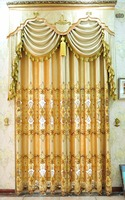 Golden Metallic woven jacquard shade curtain fabric with soluble embroidery for hall 7212-6