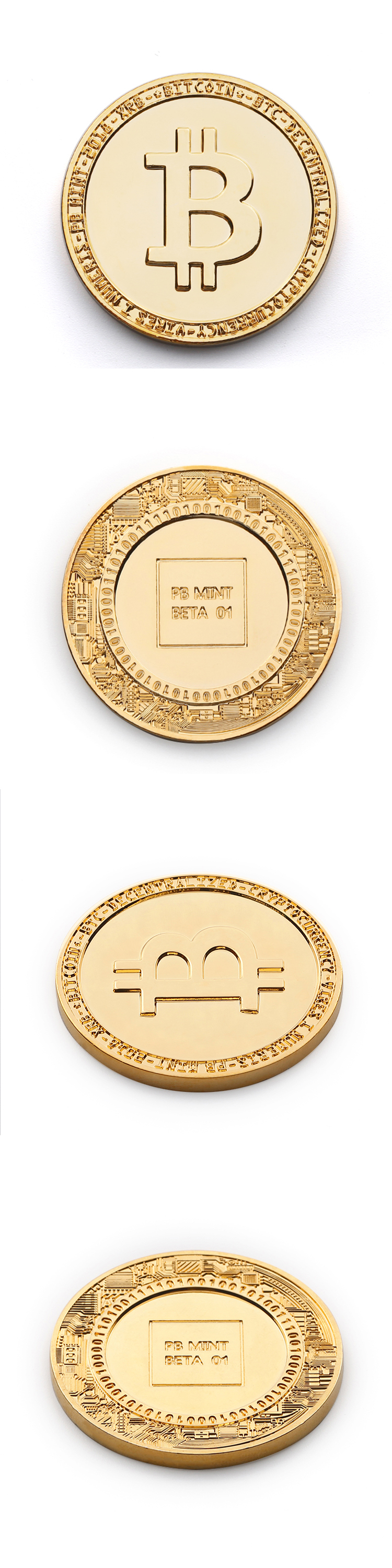 Promotional stamping bitcoin style gold make your own metal coins