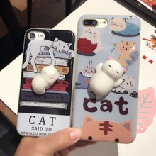 Wholesale Cheap Price 3D Squishy Cute Soft Silicone cartoon cat cell phone case for iphone 6 6Plus 7 7Plus