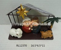 LED lighted pottery nativity set with metal stable