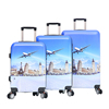 3pcs 20 24 28 inch silent spinner wheels custom zipper abs printed hard shell luggage