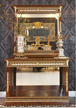 Luxury French Mahogany Hallway Console Table With Mirror/ Palace Gorgeous Brass Mounted Console Table, Side Table