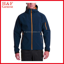 Cheap plain climing softshell jacket in navy with hood