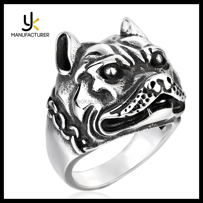 2017 New Style Stainless Steel Animal Dog Bulldog Ring