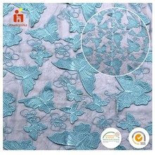 customized design fabric manufacturer 3D deep green butterfly embroidery turquoise blue lace fabric