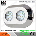 WEIKEN 120w Underwater Led Boat Light Submersible LED Lights with Remote Control