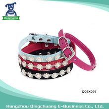 Fashion Dog Beads Pearl Rhinestone Flower Collar