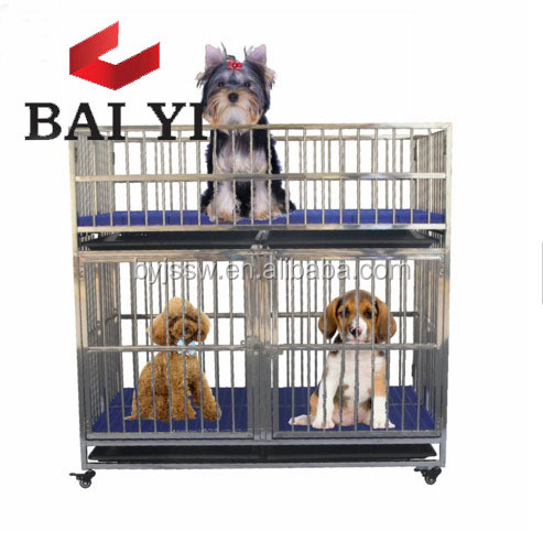 Good Quality 304 Foldable Stainless Steel Dog Cage Crates With Plastic Floor and Bowl
