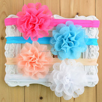 Big Chiffon Flower Eyelet Lace Hair band Flower For Kids Newborn Fold over Elastic lace headband