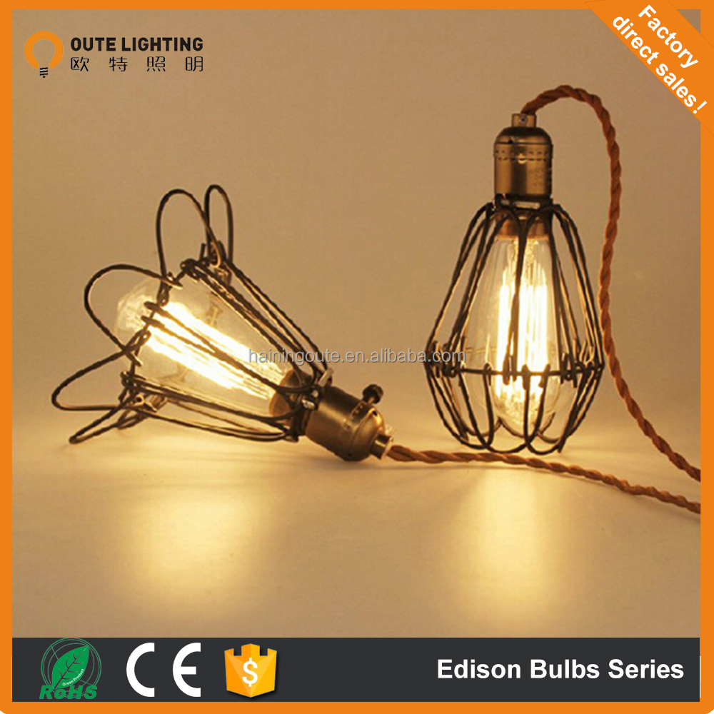 2015 new Vintage iron Pendant Lamp birdcage with Edison Bulb popular in amusement bar/ Restaurant