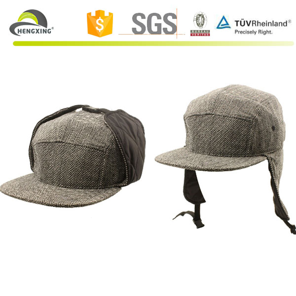 Winter Wool Earflap 5 Panel Ski Cap Hat Gray