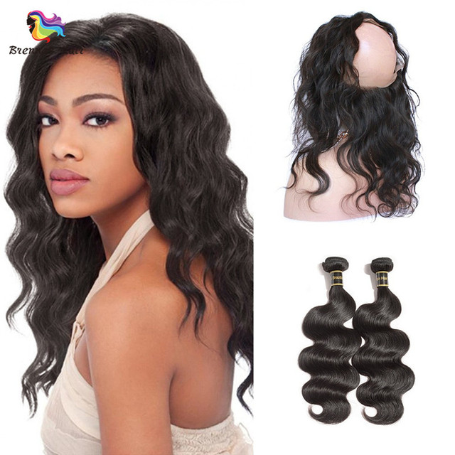Can be Dyed Brazilian body wave hair 3bundles with 360 lace frontal closure Natural Black #1b