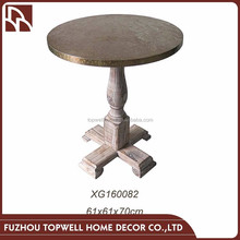 Living Room Center Solid Wood Base Table Design With Aluminum Top