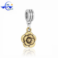 Fashion Jewelry Accessories DIY 14K Gold Bead Flower Hanging Charms for European Charm Bracelet
