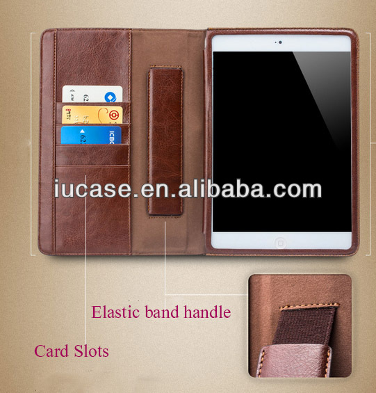 premium PU leather Folio stand Case for iPad 5/Air with one hand operation, card holders, money pocket and multi view angle func