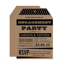 Brown Black Enagagement Party Tag invitation Card