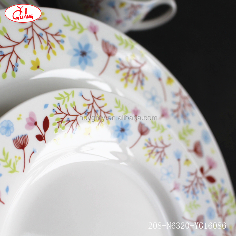 Wholesale tempered glass dinnerware with carmine red flower pattern YG16086