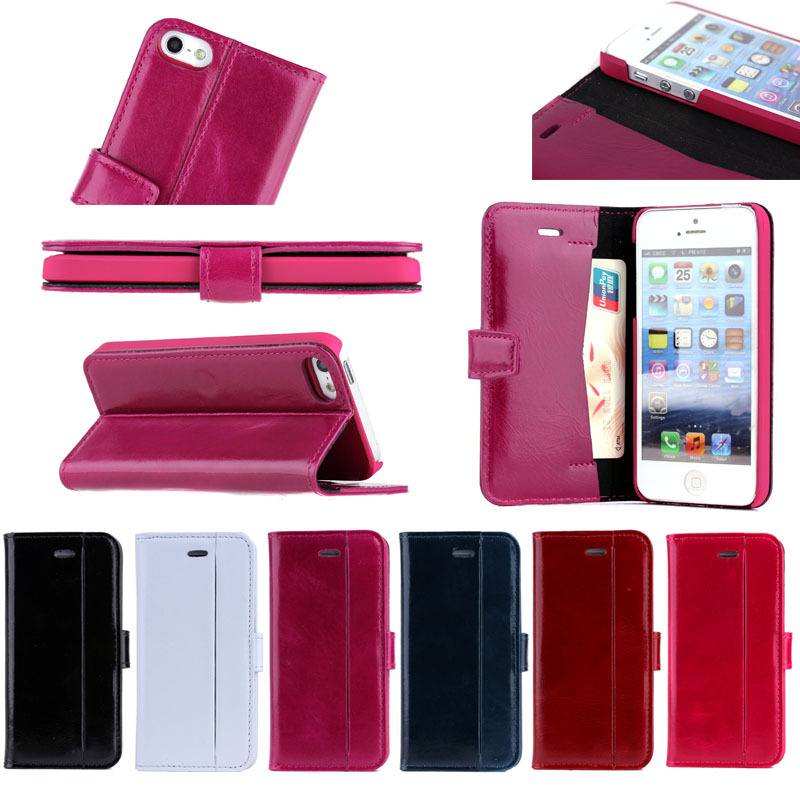 Oil wax flip leather case for iPhone5S mobiile phone