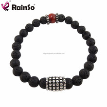 Black Lava or Agate Stone Bead Stones Bracelet Jewellery 8MM with Magnetic Round Locks