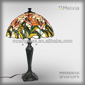 MX000016 paradise bird flower tiffany style stained glass tiffany table lamp shade for home decoration piece