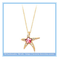Unique starfish jewelry 18k gold plated romantic crystal necklace ladies fancy items