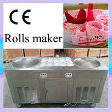 Good looking! Thailand -35C degree Ice Cream Rolls Making Machine With Two Big Square Flat Pans