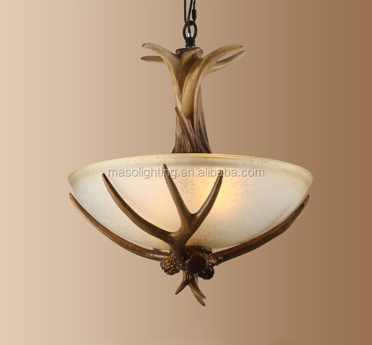 MASO hot sale indoor Vintage Resin Antler Chandelier Glass Cover pendant lamp deer horn art design