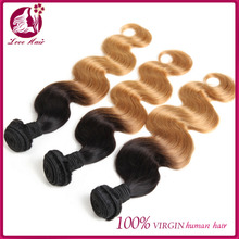 3Bundles Best Human Hair Extension Ombre Color 1b/27 Indian Human Hair Wefts