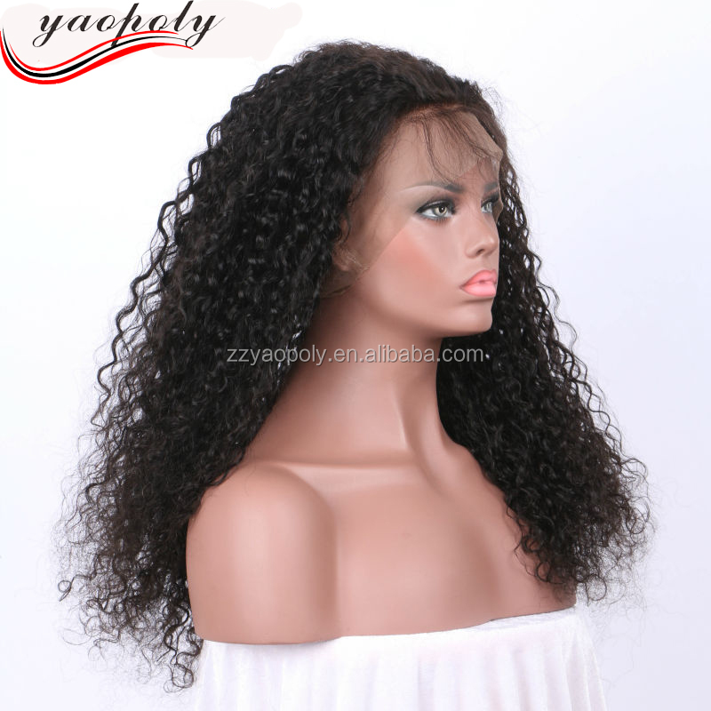 High quality lace front synthetic wig manufacturer supply hair extension human 8a kinky curly 360 frontal