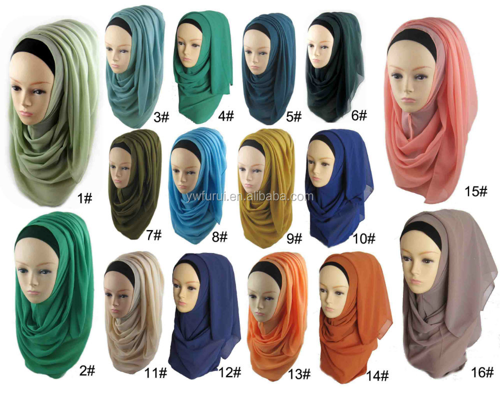 2017 new design hijab solid colors high quality thick pearl chiffon hijab heavy bubble chiffon shawl
