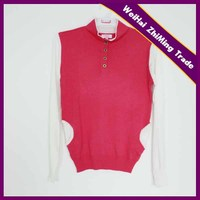 fashion women high collar 1/4 button placket contrast color sweater with side pockets