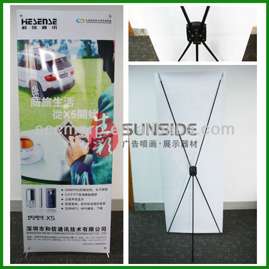 banner display X stand/advertising plastic steel banner stand