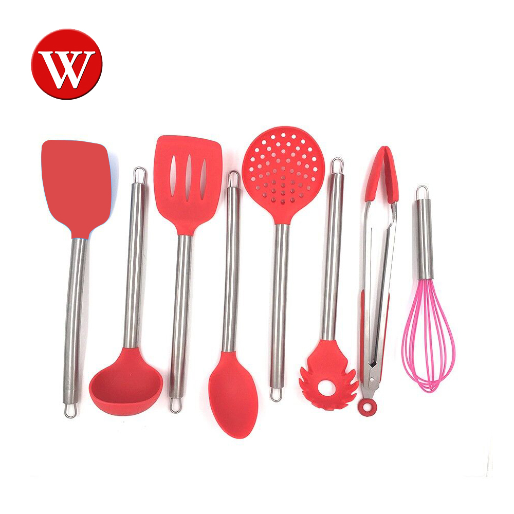 8 Pieces Silicone Cooking Utensils Set With Anti Scratches