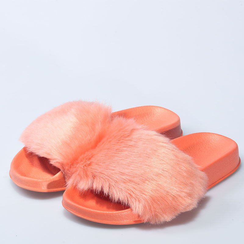 Wholesale New Arrival <strong>Slipper</strong> Ladies Flat PVC <strong>Slipper</strong> soft Faux Fur <strong>Slippers</strong> For Women